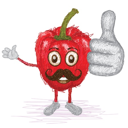 pimento: unique style illustration of funny, happy cartoon red bell pepper with mustache waving, giving thumbs up gesture