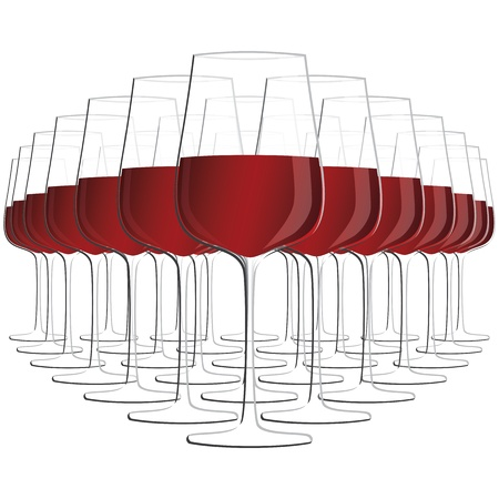 illustration of glass of red wine isolated in white background