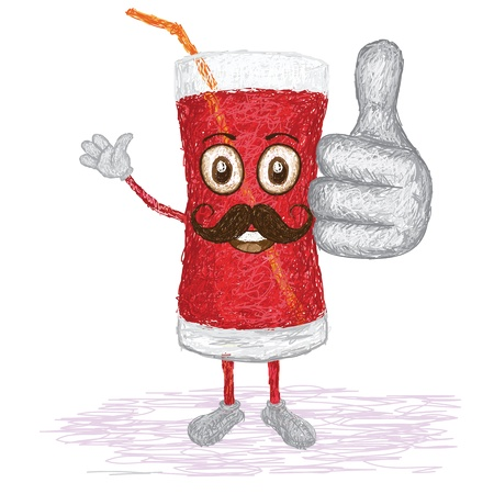 fruit smoothie: unique style illustration of funny, happy cartoon glass of strawberry juice with mustache waving, giving thumbs up gesture    Illustration