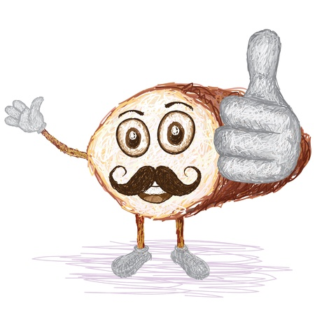 starch: unique style illustration of funny, happy cartoon cross section of taro root with mustache waving, giving thumbs up gesture    Illustration