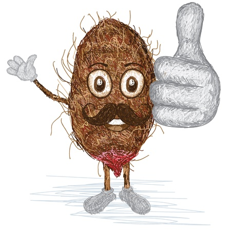 tuber: unique style illustration of funny, happy cartoon brown taro xanthosoma with mustache waving, giving thumbs up gesture