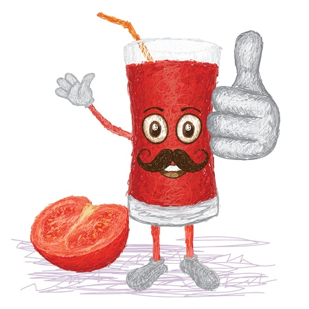 extract: unique style illustration of funny, happy cartoon tomato fruit juice with mustache waving, giving thumbs up gesture