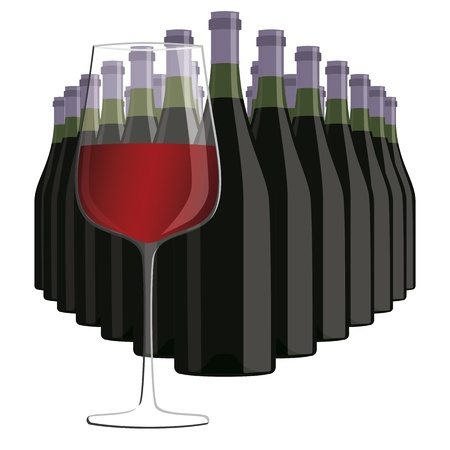 illustration of glass of red wine with bottles of wine, isolated in white background    Illustration