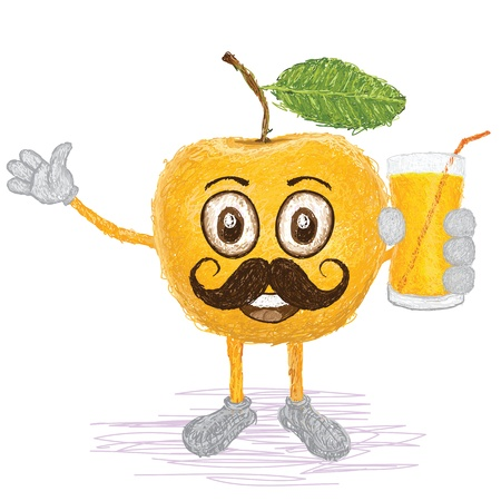 yellow apple: unique style illustration of funny, happy cartoon yellow apple fruit with mustache holding a glass of apple juice waving