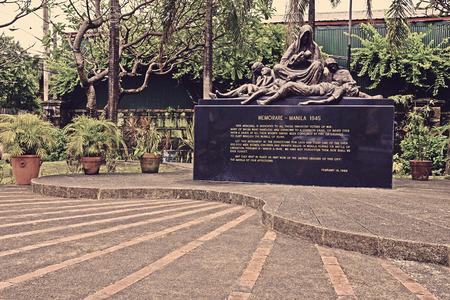 manila: historical memorial monument remembering world war 2 victims, intramuros manila philippines.