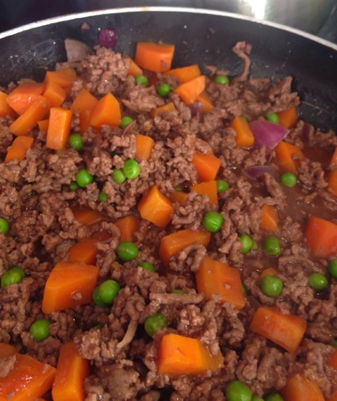 innards: Cottage pie preparation Stock Photo