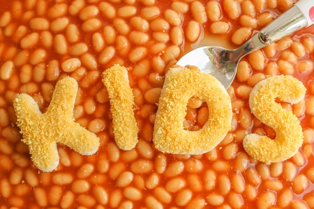 breaded: Kids meal - baked beens with breaded letters spelling KIDS