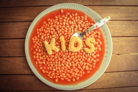 kids meal: Kids meal - baked beens with breaded letters spelling KIDS