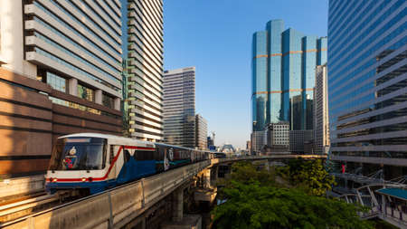 silom: sky train and building in bangkok