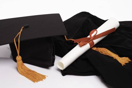 Graduation gown cap and certificated on white background,Education Success Concept