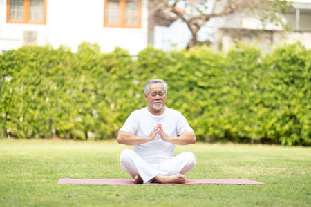 Calm of Healthy Asian Elderly man with white hairs doing yoga lotus pose for meditation on green grass at park,Wellness Senior Recreation with yoga concept