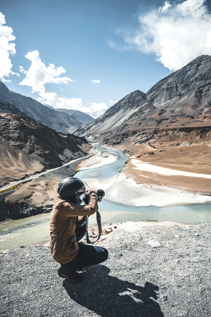Photographer and View of landscape at Leh Ladakh District ,Norther part of India Stock Photo