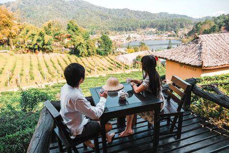 Asian couple travel at Lee wine Rak Thai, Chinese settlement, Mae Hong Son, Thailand Banco de Imagens