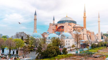 Landscape View of Hagia Sophia in Istanbul, Turkey Banco de Imagens