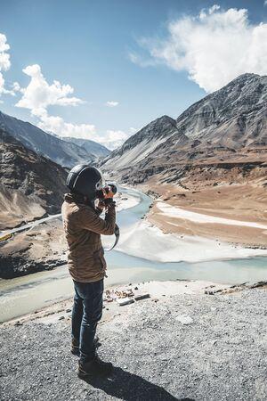 View of Indus and Zanskar Rivers in Leh Ladakh, India Banco de Imagens