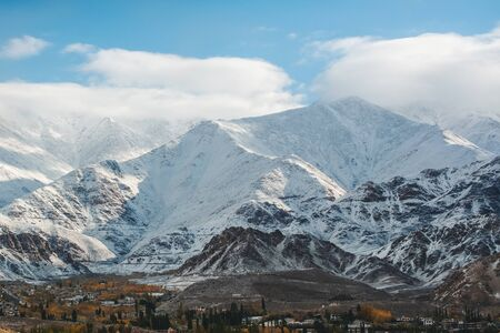 Snow Mountain View of Leh Ladakh District, Northern part of India Banco de Imagens