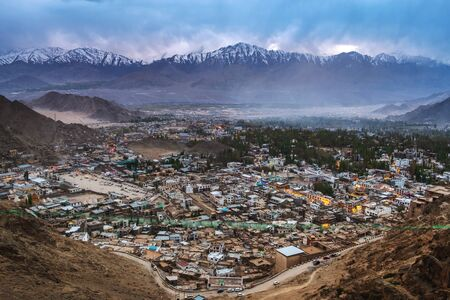 Beautiful City landscape in Night Time of Leh Ladakh District, Northern part of India Banco de Imagens