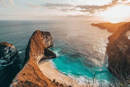 Aerial view of landscape with Kelingking beach, Nusa Penida island Bali, Indonesia Banco de Imagens - 130737497