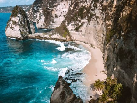Aerial view of landscape with Diamond  beach, Nusa Penida island Bali, Indonesia