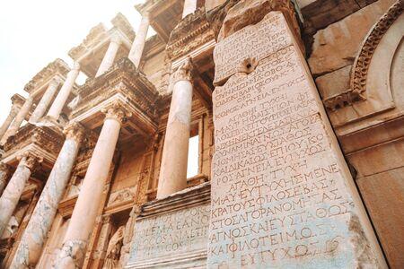 Travel at The Library of Celsus in Ephesus, Izmir, Turkey Banco de Imagens - 130736997