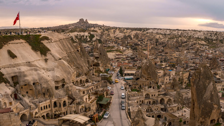 Landscape of Goreme sunset view point . Cappadocia. Nevsehir Province. Turkey. Editorial