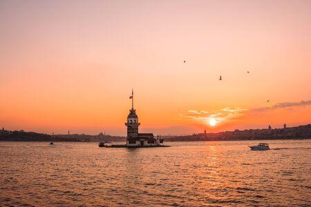 Sunset view of Maiden Tower(Kiz kulesi) in Bosphorus ,Istanbul Turkey