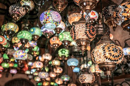 Amazing traditional handmade turkish lamps in Local souvenir shop ,Goreme. Cappadocia Turkey