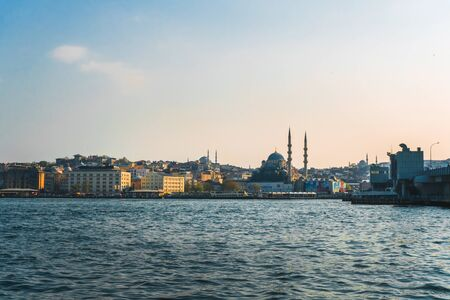April 17, 2019 : View of Istanbul cityscape Suleymaniye Mosque Hagia Sophia with floating tourist boats in Bosphorus ,Istanbul Turkey Editorial