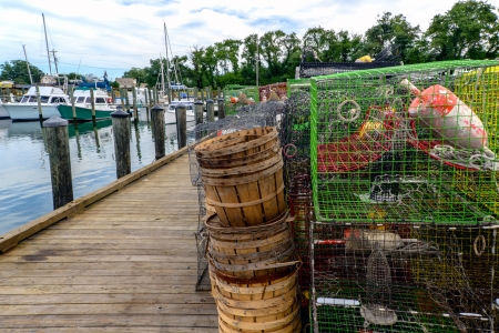 Cape Charles Virginia fishing harbor showing boats and crab pots