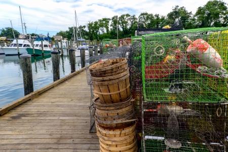 crab pots: Cape Charles Virginia fishing harbor showing boats and crab pots