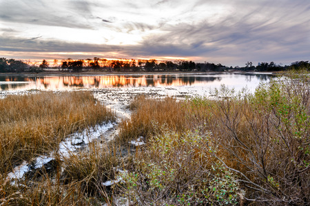 inlet bay: A natural oyster bed as seen at sunset on the Lynhaven Inlet off the Chesapeake Bay . Located in Virginia Beach, Va.
