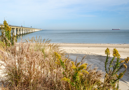 A look at the Chesapeake Bay bridge from the Virginia Beach side of the Chesapeake Bay