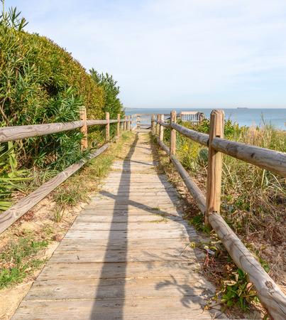 beach access: Wood Deck pathway to the beach on the Chesapeake Bay in Virginia Beach
