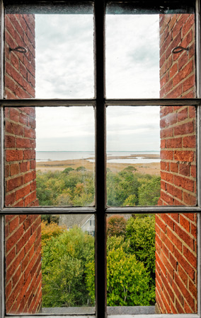 obx: A view from a window on the Currituck Beach Lighthouse. Stock Photo