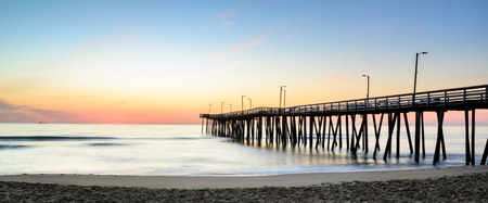 fishing pier: Sunrise view next to the 14th st. fishing pier located in beautiful Virginia Beach, Va.