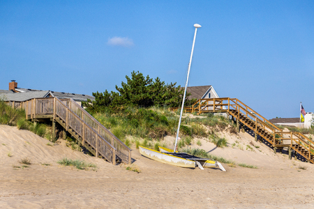 catamaran: A catamaran on the dunes of Chesapeake Beach in Virginia Beach, Va. Stock Photo