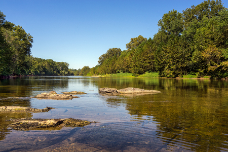 serine: Serine and peaceful view of the James River just outside Scottsville Virginia. Stock Photo