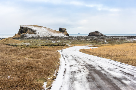 nob hill: Picture of the reykjanes penninsula of Iceland looking out to the Atlantic Ocean. The land was pushed up due to volcanic activity on the island. Stock Photo