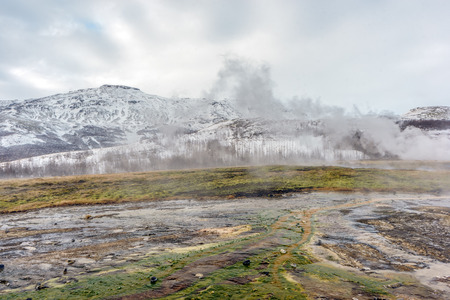 vents: Geothermal vents and pools in the Geysir region of the Thingvellir National Park in Iceland. Stock Photo