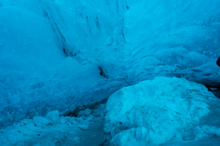 An ice cave located near the Jokulsarlon lagoon in the Vatnajokull glacier in south Iceland. The glacier is the largest galcier iEurope.