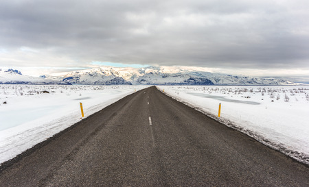 southeastern: A section of Icelands Ring Road (road 1) 5in the Southeastern region of the country