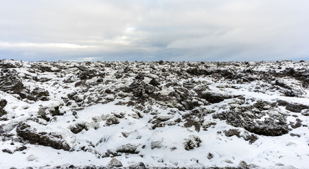 The desolate and volcanic rock area of the Reykjanes penninsula of southern Iceland as seen during the winter.