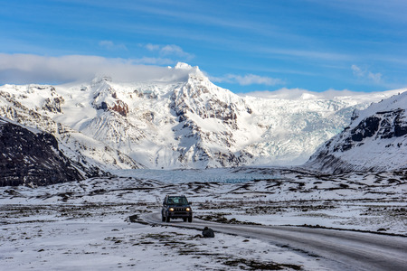 A small portion of the Vatnajokull glacier as seen from the Ring Road in southern Iceland Фото со стока