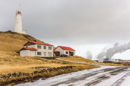 A lighthouse in the southern region of Iceland situated within a geothermal area. Stock fotó