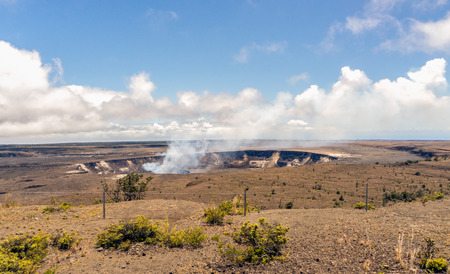 The crater of Mt. Kilauea inside the large caldera. Located in Volcanoes National Park, Hawaii. Фото со стока