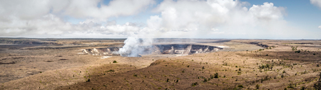 kilauea: The crater of Mt. Kilauea inside the large caldera. Located in Volcanoes National Park, Hawaii. Stock Photo