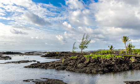 The kapoho tide pools on eastern portion of the Big Island of Hawaii. Formed from the 1960 eruption. The tide pools are protected, and the official name of this area is Wai'opae Tidepools Marine Life Conservation District. Before the conservation district