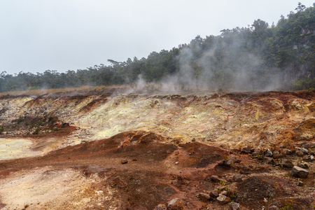 volcanism: Steam coming up from the ground at Hawaii Volcanoes National Park. Stock Photo