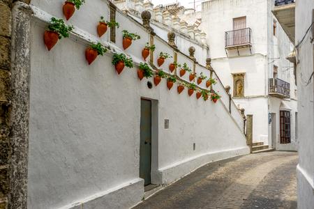 A street in Arcos de la Fronteria in the provence of Cadiz Spain Imagens