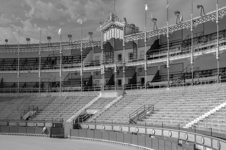 The bullring of El Puerto de Santa Maria, in the provance of Cadiz spain.  Built in 1880 and is one of Spains most beautiful and important bullrings. Editorial